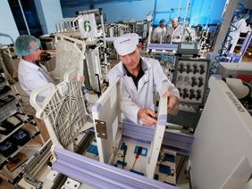 Location photograph of factory floor at Siemens Electronics Company, Essex